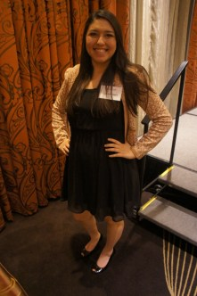 New Senator Scarlett Najera said her classic little black dress and subtle tan blazer hailed from Nordstrom. | Natalie Harms/The Daily Cougar