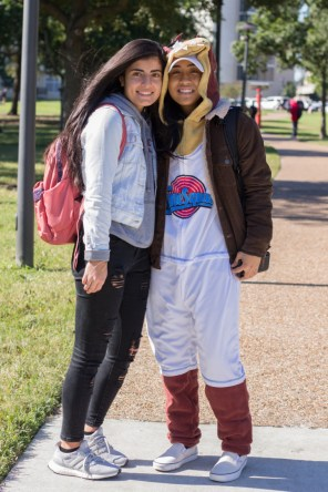 Civil engineering freshman Alyssa Liceralde dressed in a Space Jam onesie with a friend. | Katrina Martinez/The Cougar