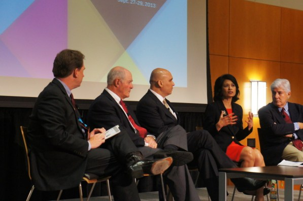 In the first higher education panel of the day, President and Chancellor Renu Khator stressed student success as a catch-all goal for her. | Natalie Harms/The Daily Cougar