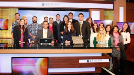 The class watched Univision's 5 p.m. news broadcast.   Fernando Castaldi/The Daily Cougar