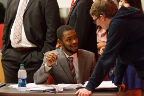 "Marcus Smith, left, was acting public defender for REDvolution. The Class A complaint against Haston was dropped with a verdict of 3-1 ruling ""not guilty,"" allowing him to continue to run on this year's SGA general elections ballot. 