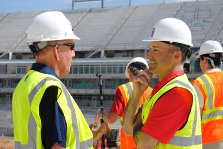 Levine and UTSA head football coach Larry Coker met at the site of the new stadium.