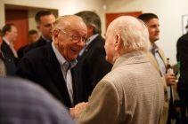 Sherrill greets Iwo Jima veteran Elmer Culber at the 70th anniversary of the Battle of Iwo Jima. | Justin Tijerina/The Cougar