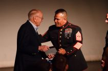 Sgt. Maj. Jimmy Sanchez presents Sherrill a Commendation award from the SgtMaj of the Marine Corps. | Justin Tijerina/The Cougar
