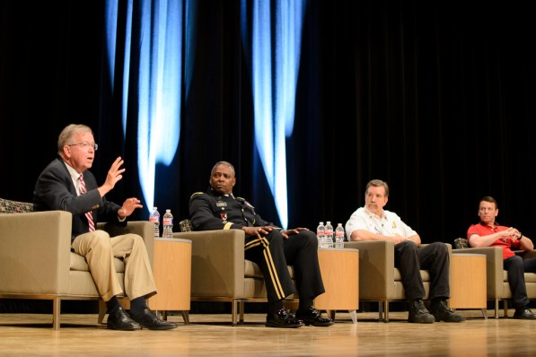 Guest panelists (from left to right) Mark Wiltshire, U.S. Army Major General Barrye L. Price, District Fire Chief Richard Cole and former United States Air Force Major Elton Davis spoke about 9/11. | Dailey Hubbard/ The Cougar