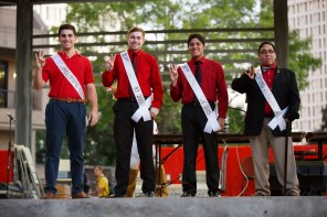 The men's homecoming court takes the stage at the pep rally.
