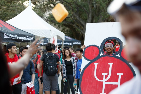 Pre-business sophomore Alejandro Dolores prepares to take a sponge to the face as one of the activities at the Block Party. | Photo by Justin Tijerina.