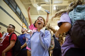 Gigi Zolezzi, a communication sophomore, and member of Zeta Tau Alpha, celebrates the team's victory at the Coog-lympics. | Photo by Justin Tijiera/The Cougar.
