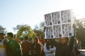 Many protesters held signs depicting Republican presidential candidate Donald Trump as Hitler. | Photo by Justin Tijerina.
