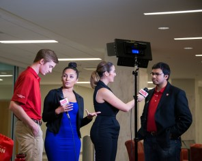 SGA Vice President Tanzeem Chowdhurry (far right) was one of the students interviewed by CoogTV at the SGA watch party. | Photo by Pablo Milanese.