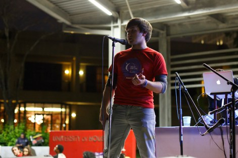 President of the Terry Scholars and co-leader of the walkathon Kyle Knight spoke at the event. | Justin Tijerina / The Cougar.
