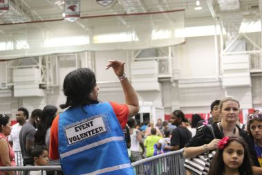 Lines just to get into the Back 2 School Fest roped around the Athletics/Alumni Center, but the lines didn't cease after entering the Yeoman Fieldhouse. | Emily Burleson/The Cougar