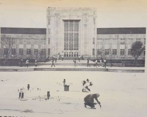Freshwater is pumped into the Quadrangle Fountain.  Taken from The Cougar, 1972