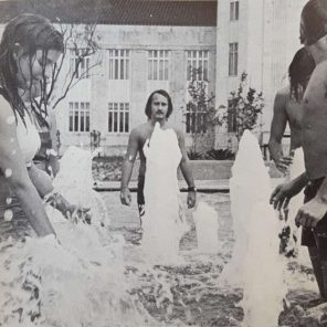 Co-eds shower at the fountains. | Taken from The Cougar, 1972