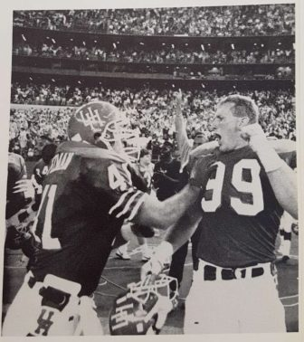 Cougar lineman celebrate a thrilling 5-point victory over No.20 Texas A&M. | Archive photo/The Cougar