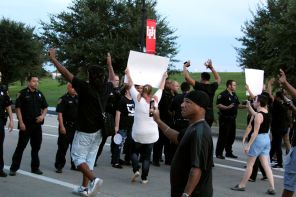 Protesters marched toward Texas Spur 5 in an attempt to get to Interstate 45, however, police managed to divert them back into campus toward Wheeler Avenue right before they reached Spur 5. | Thom Dwyer/The Cougar