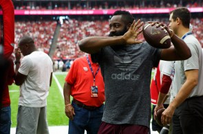 A number of Houston celebrities, including James Harden of the Houston Rockets, made an appearance at the Cougars' opener. | Justin Tijerina/The Cougar