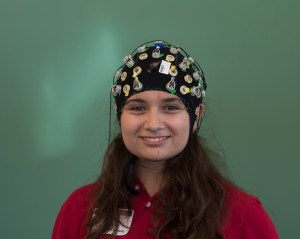 Marketing senior Anastasiya Kopteva wore part of her brain-machine interface system that allows users to monitor their brain frequencies. Her group's findings hoped to help individuals with brain diseases like Alzheimer's. | Ajani Stewart/The Cougar