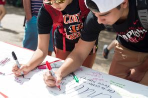 "Students at Butler Plaza were invited to pledge to ""end the stigma"" of mental illness. 