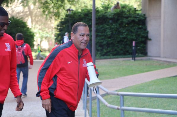 Head coach Kelvin Sampson took to campus Friday morning on a mission to fill seats. | Reagan Earnst/The Cougar