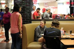 Many students said they enjoyed lunch at Moody Towers Dining Commons, where all stations were open despite a reduced campus population.   Thomas Dwyer/The Cougar