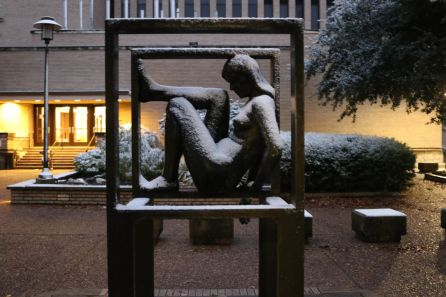 Statues across campus received a new coat of white for the first time in eight years. | Thomas Dwyer/The Cougar