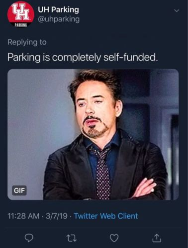 UH Parking responds to a student using a gif of Tony Stark rolling his eyes. | Photo provided to The Cougar by a Twitter user