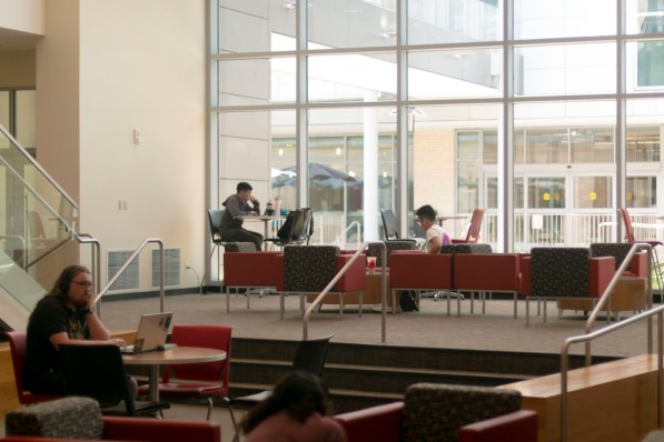 """The Student Center North lobby is a moderately quiet place with plenty of tables for groups and couches for more relaxed studying. """"It's by SC south, so close to food and it's a great meeting spot for people. It's very central. But here in the North building it's also calm compared to South,"""" said media productions senior Alexander Brovig. The building also hosts several student organizations, like the Student Government Association, the Student Program Board, and the Center for Student Media. Noise: Low to Moderate. Comfort: Moderate. 