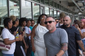 The singer made a brief appearance at the Spirit of Houston practice before exiting the stadium. | Trevor Nolley/The Cougar