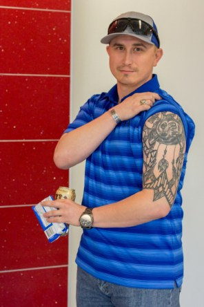 Charles Harrell, who is an Army veteran and a supply chain and logistics technology senior, got his first tattoo in 2006 while he was stationed in Korea and has gotten two more tattoos since then. | Katrina Martines/The Cougar