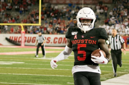 UH wide receiver Marquez Stevenson in a game against SMU in 2019. He caught five passes for 211 yards and two touchdowns, including a 96-yard score in the fourth quarter. | Katrina Martinez/The Cougar