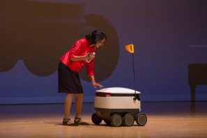 "During the address, Khator showcased a new food delivery robot set to ""come on campus in a few days."" 
