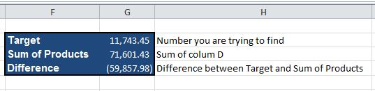 Identifying excel entries that add up to a specific value