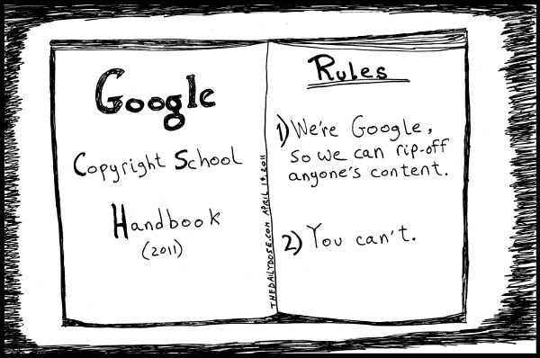 cartoon comic strip featuring parody of google copyright school rules , from laughzilla for TheDailyDose.com