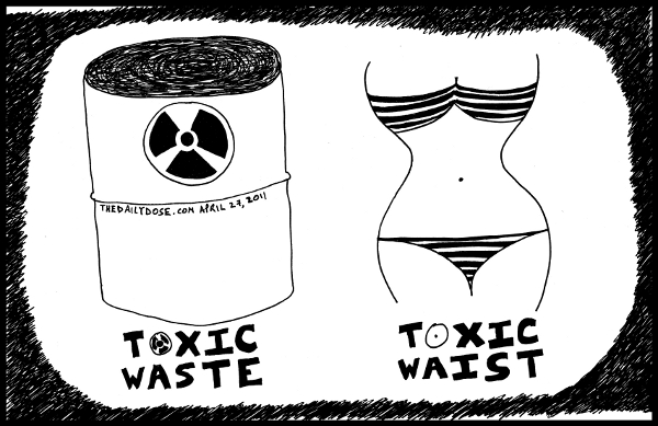 cartoon comic strip featuring toxic waste and toxic waist , from  laughzilla for TheDailyDose.com