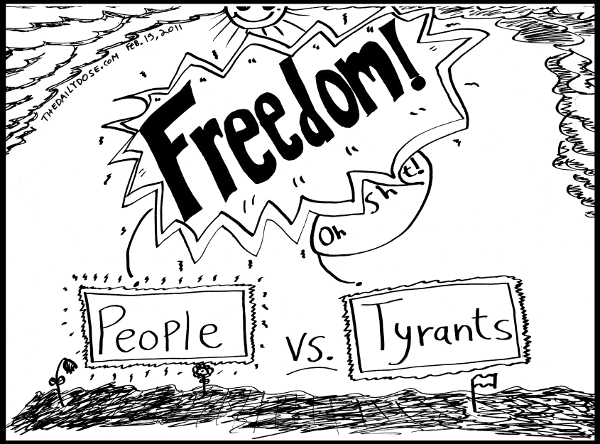 A cartoon  about democracy taking root by People vs. Tyrants in Araby in January and February 2011 , from laughzilla for TheDailyDose.com