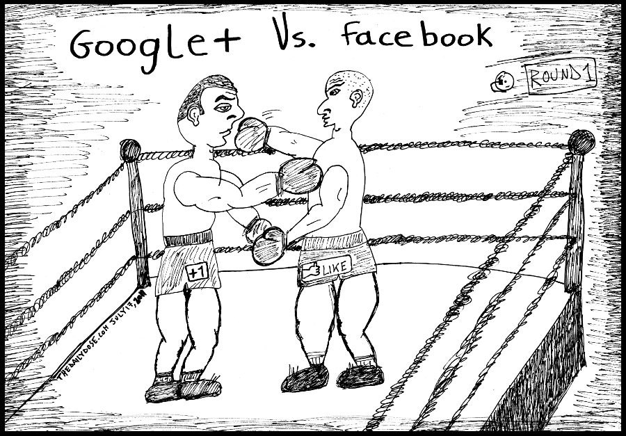 editorial cartoon panel of social network fight between google and facebook parody line drawing art ink on paper 2011 july 18 , from laughzilla for TheDailyDose.com