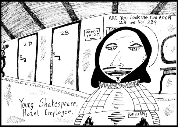 editorial cartoon of young william shakespeare as a hotel employee helping guests