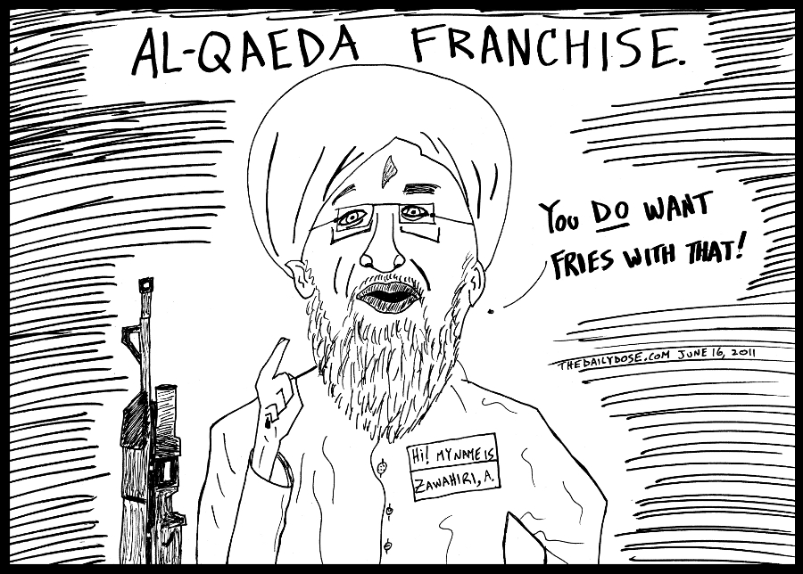 political cartoon panel of new al qaeda leader ayman al zawahiri commanding customers of the terror franchise to order fries line drawing people power parody art ink on paper 2011 june 16 , from laughzilla for TheDailyDose.com