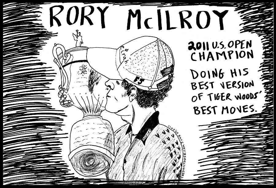 editorial cartoon panel portrait of u.s. open golf champion rory mcilroy line drawing portrait art ink on paper 2011 june 20 , from laughzilla for TheDailyDose.com