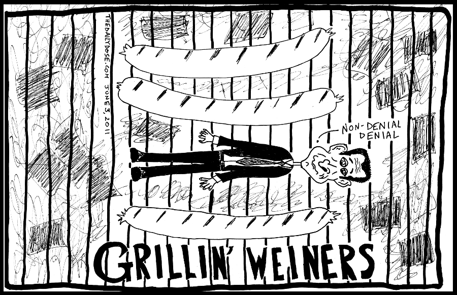 cyberculture political cartoon panel parody of u.s. congressman anthony weiner twitter pic scandal internet tech news satire line drawing art ink on paper 2011 june 3 , from laughzilla for TheDailyDose.com
