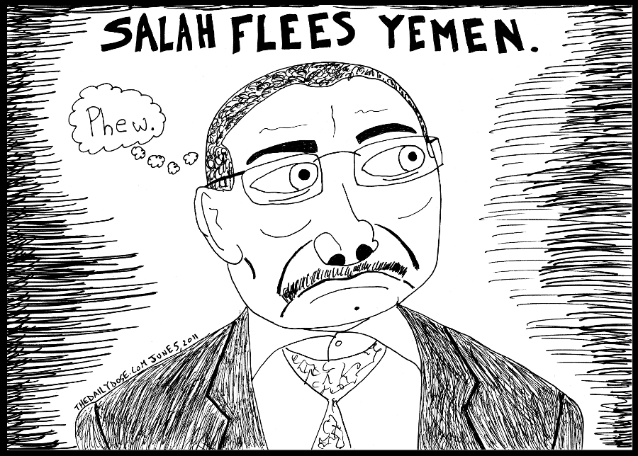 political cartoon panel parody of yemen president abdullah salah fleeing to saudi arabia following violent attacks by opponents to his regime news satire line drawing art ink on paper 2011 june 5 , from laughzilla for TheDailyDose.com