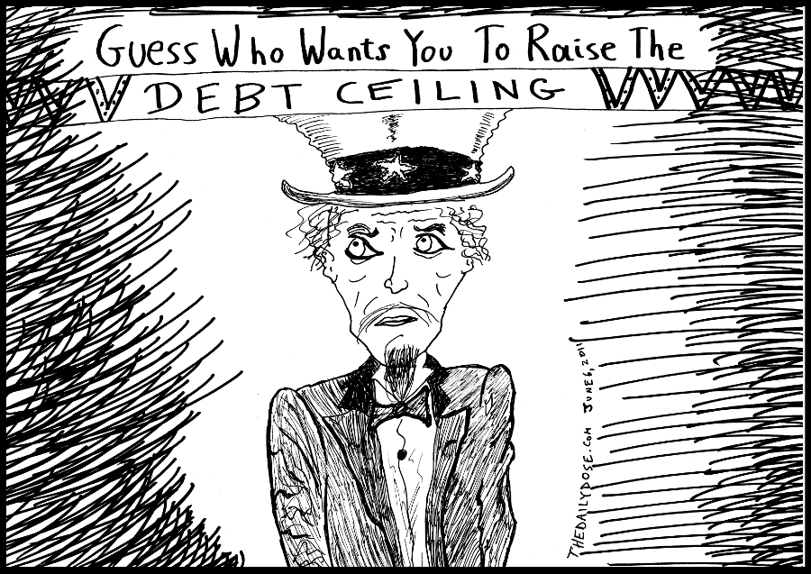 political cartoon panel of uncle sam parody poster to raise the u.s. debt ceiling news satire line drawing art ink on paper 2011 june 6 , from laughzilla for TheDailyDose.com