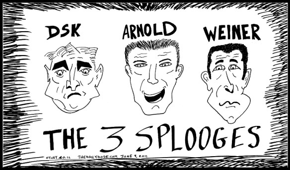political cartoon of imf chief dominique strauss-kahn dsk , gov arnold schwarzenegger , and rep. anthony weiner defamed by their sexual appetites by Yasha Harari
