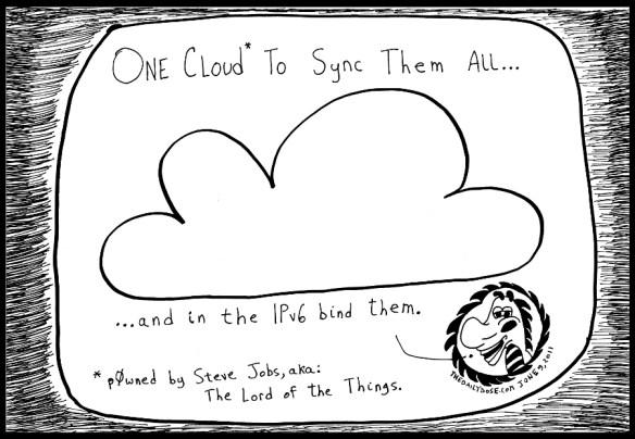 editorial cartoon of Apple iCloud and ipv6 internet cyberculture humor by Yasha Harari