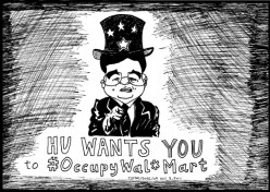 president hu satirized as uncle sam parody for occupy wal*mart cartoon collection