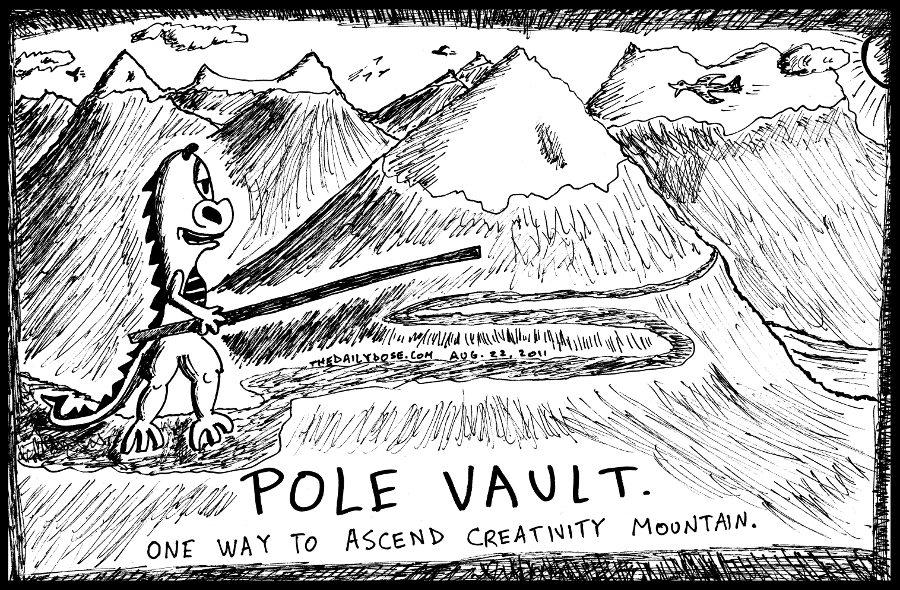 Pole Vault Up Creativity Mountain
