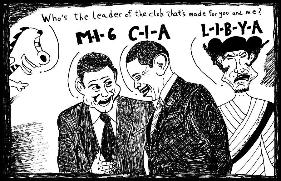 mi6 cia libya secret war on terror collaborators political cartoon editorial caricature by laughzilla for the daily dose