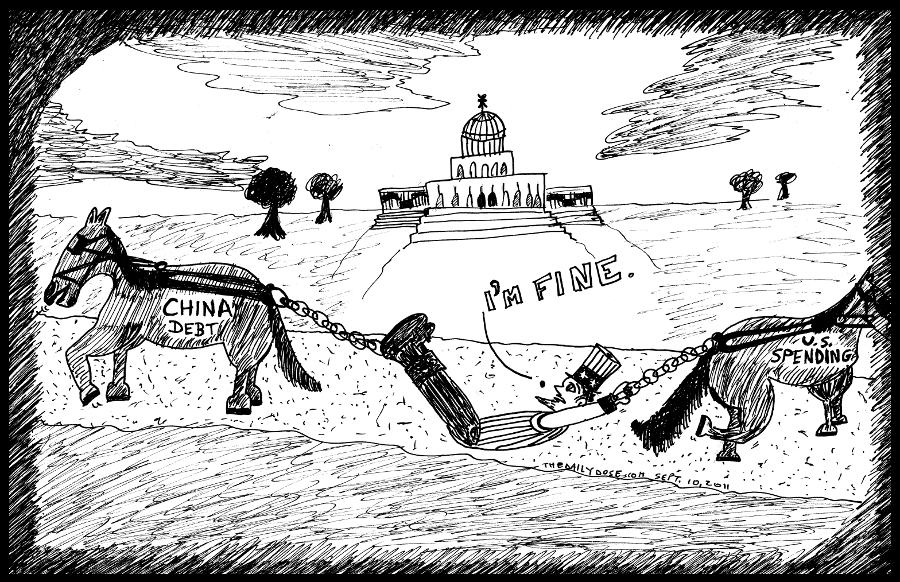 uncle sam china debt us spending political cartoon congress editorial comic strip caricature by laughzilla for the daily dose