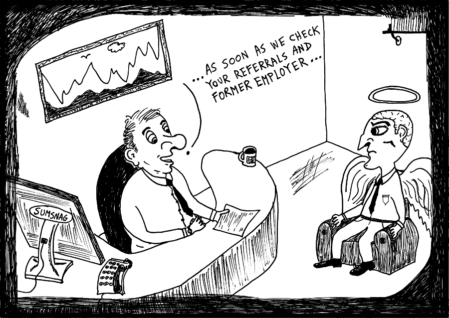 job interview editorial cartoon angel referral comic strip caricature by laughzilla for the daily dose